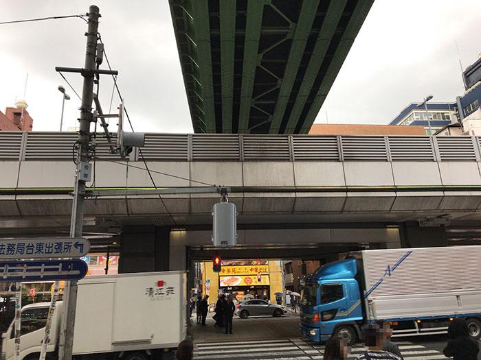 昭和通りを渡るため信号待ちしている