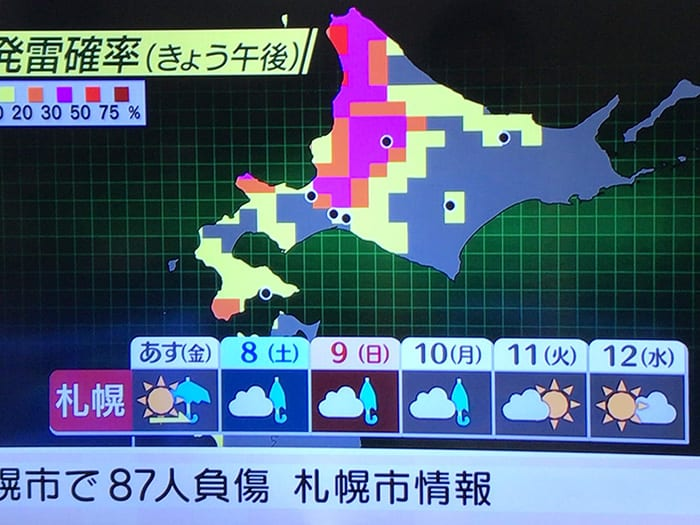 今後1週間の天気予報のテレビ画像