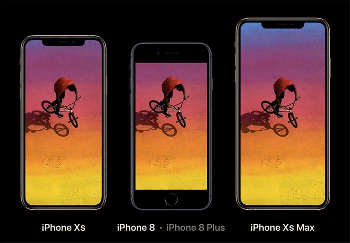 iPhone XSとXS MAX、iPhone8の大きさ比較