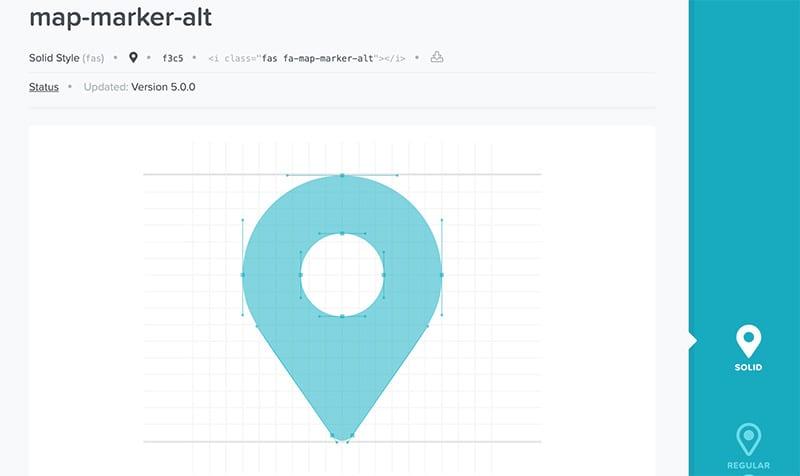 FontAwesomeのマップマーカーのアイコンページ