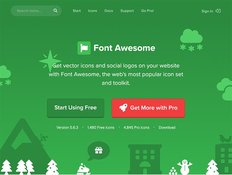 FontAwesomeのサイトのトップ画面