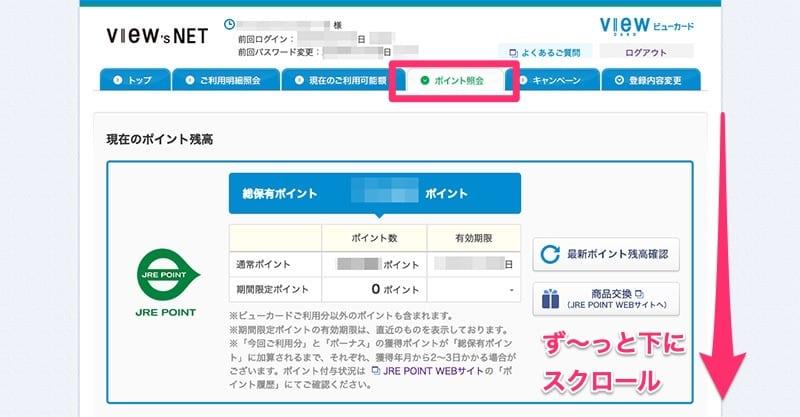 VIEW's NETのトップページからポイント照会ページに遷移して最初の画面