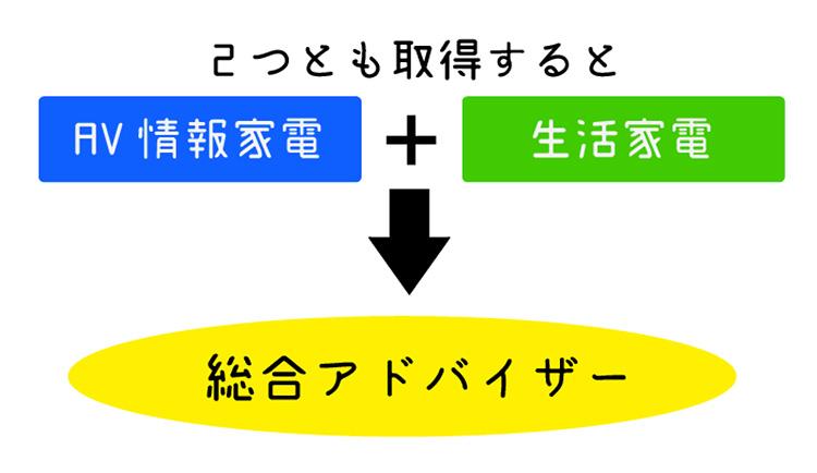 「AV情報家電」と「生活家電」を2つとも取得すると「総合アドバイザー」になるというイメージ画像